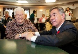 EDMONTON, ALBERTA ; OCTOBER 29, 2014--Premier Jim Prentice speaks to Kadie Bunio who turns 103 on Thursday, after he and Seniors Minister Jeff Johnson announce that $70 million will be put into upgrading sprinkler and fire safety systems in older government-owned seniors facilities on October 29, 2014. (Greg Southam/Edmonton Journal)