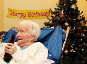 Merle Barwis, who turned 113 in December, will on Monday become the oldest British Columbian ever. She is pictured enjoying a beer with family in Victoria on her 111th brithday. File photo. (LYLE STAFFORD, TIMES COLONIST). Photograph by: LYLE STAFFORD , TIMES COLONIST