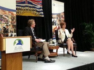 BC's Seniors Advocate, Isobel Mackenzie, speaks about her future plans in a plenary with President, Dave Cheperdak at the 2014 BCCPA Annual Conference