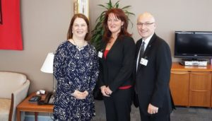 Hon. Jane Philpott, Candace Chartier (OLTCA), Daniel Fontaine, meeting in Feb. 2017