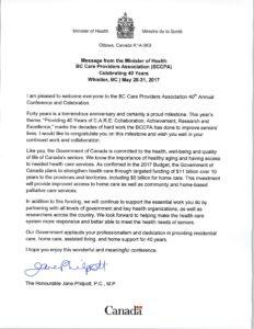 Letter from Hon. Jane Philpott