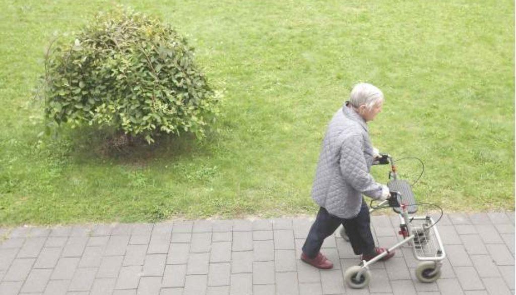 senior with walker