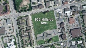 Aerial view of former Blanshard Elementary School site in Victoria, south of Hillside Avenue and east of Blanshard Street. Photograph by: Capital Regional District