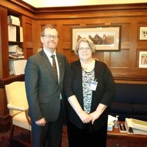 Hon. Terry Lake meets with Wendy Miller, BC Care Provider of the Year to discuss front-line care.