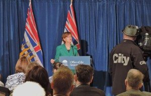 BC Seniors Advocate, Isobel Mackenzie, speaks at the release of her office's first report