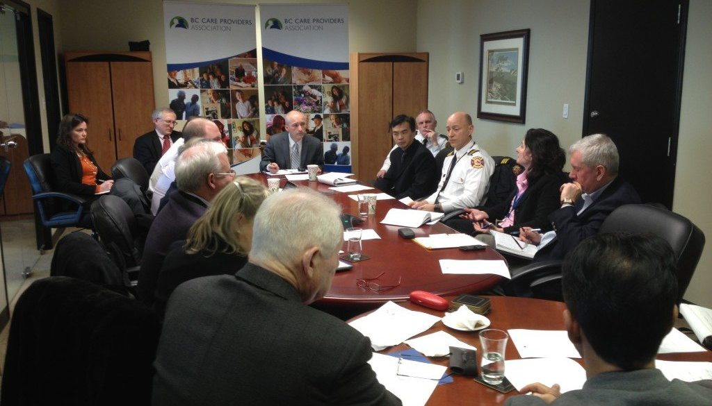 Over 20 stakeholders gathered at BCCPA office to discuss fire sprinkler safety in BC care homes