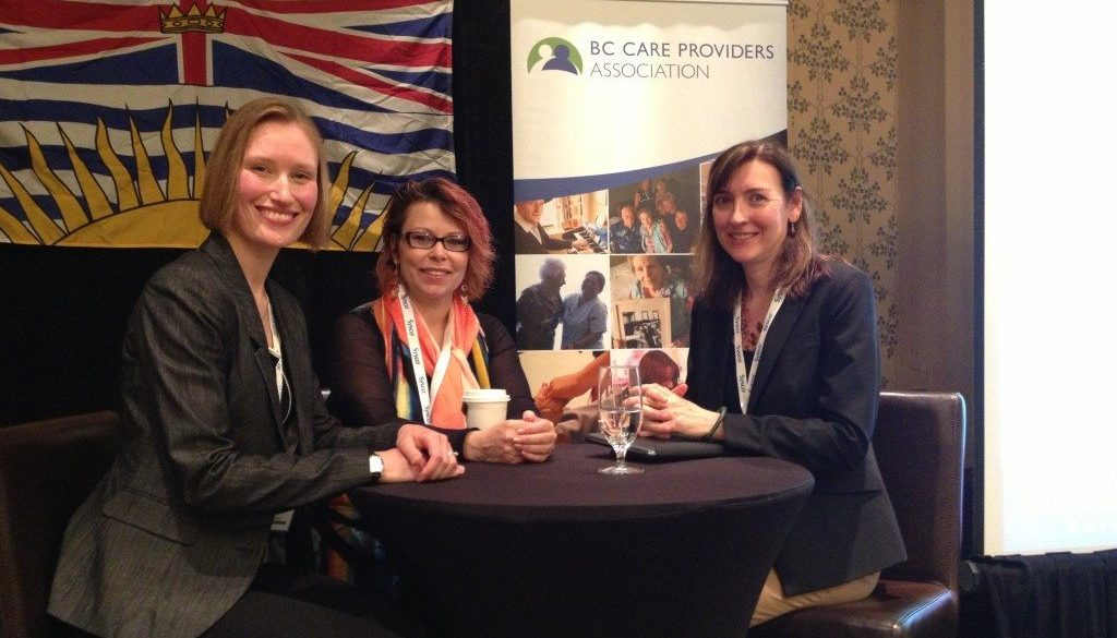 Jennifer Lyle, ED, moderates a panel discussion including Debbie Yule, Vice President of Industry Training at go2hr, and Maria Howard, CEO of the Alzheimer Society of BC at the Annual Conference