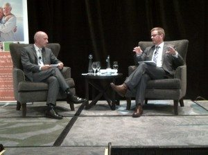 CEO, Daniel Fontaine(l) & Hon. Terry Lake(r) sit down for a Q&A at the inaugural luncheon last year