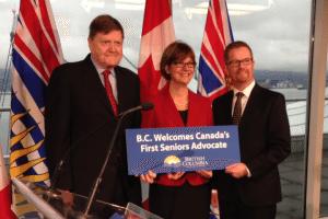 Isobel Mackenzie (centre), B.C.'s new Seniors Advocate