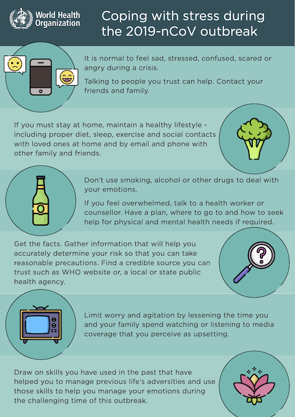 WHO infographic on coping with stress